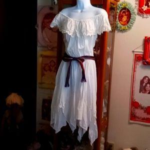 Authenic White Mexican Off Shoulder Midi Dress